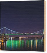 Benjamin Franklin Bridge At Night From Penn's Landing Wood Print