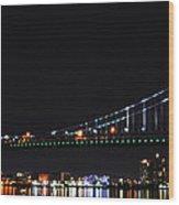 Benjamin Franklin Bridge At Night Panarama Wood Print