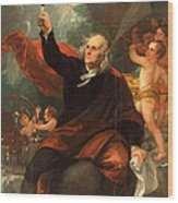 Benjamin Franklin Drawing Electricity From The Sky Wood Print
