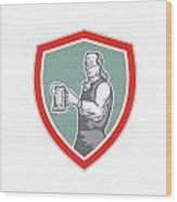 Benjamin Franklin Holding Beer Shield Retro Wood Print by Aloysius Patrimonio