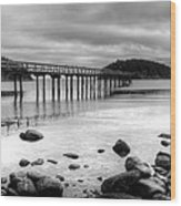 Bennet Bay Pier Black And White Wood Print