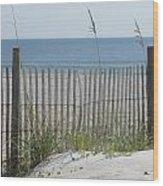Bent Beach Fence Wood Print