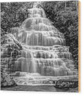 Benton Falls In Black And White Wood Print