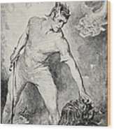 Beowulf Shears Off The Head Of Grendel Wood Print by John Henry Frederick Bacon