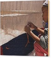 Berber Girl Working On Traditional Berber Rug Ait Benhaddou Southern Morocco Wood Print
