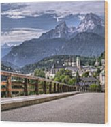Berchtesgaden Road And Mountain Wood Print
