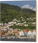 Bergen Harbor Wood Print
