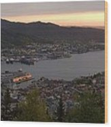 Bergen Sunset Panorama Wood Print