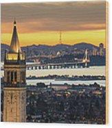 Berkeley Campanile With Bay Bridge And Wood Print