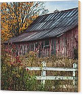 Berkshire Autumn - Old Barn Series   Wood Print
