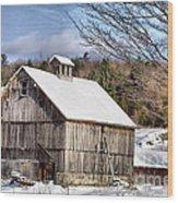 Berkshire Barn In Winter Wood Print
