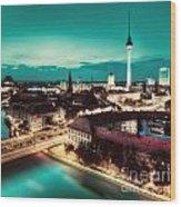 Berlin Germany Major Landmarks At Night Wood Print
