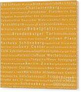 Berlin In Words Orange Wood Print