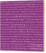 Berlin In Words Pink Wood Print