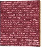 Berlin In Words Red Wood Print