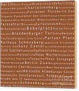 Berlin In Words Toffee Wood Print