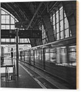 Berlin S-bahn Train Speeds Past Platform At Alexanderplatz Main Train Station Germany Wood Print by Joe Fox