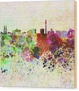 Berlin Skyline In Watercolor Background Wood Print