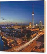 Berlin Skyline Panorama Wood Print by Jean Claude Castor