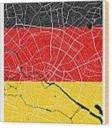 Berlin Street Map - Berlin Germany Road Map Art On German Flag Background Wood Print