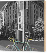 Berlin Street View With Bianchi Bike Wood Print