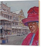 Bermuda Lady In Red And Cop Wood Print
