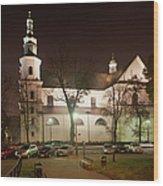 Bernandine Church At Night In Krakow Wood Print