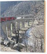Bernina Express In Winter Wood Print