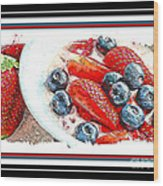 Berries And Yogurt Illustration - Food - Kitchen Wood Print