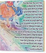 Berry Fairy Friends Poem Wood Print