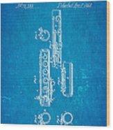 Berteling Flute Patent Art 1868 Blueprint Wood Print
