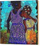 Best Friends Mosaic Wood Print