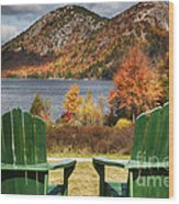 Best Seats In Acadia Wood Print by George Oze