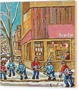 Best Sellers Original Montreal Paintings For Sale Hockey At Beauty's By Carole Spandau Wood Print