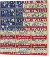 Betsy Ross American Flag Michigan License Plate Recycled Art On Red Board Wood Print