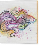 Betta Fish Watercolor Wood Print