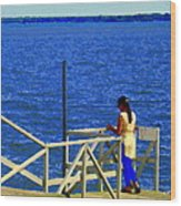 Between Sky And Sea Lachine Canal Viewing Pier Picturesque Water Scenes Montreal Art Carole Spandau Wood Print