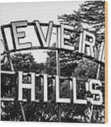 Beverly Hills Sign In Black And White Wood Print