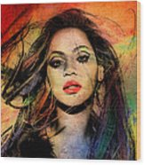 Beyonce Wood Print by Mark Ashkenazi
