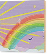 Beyond The Rainbow Wood Print