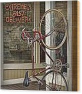 Bicycle Attached To Wall Outside Of Fast Food Restaurant Wood Print