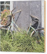 Bicycle Basket Of Flowers Painterly Effect Wood Print