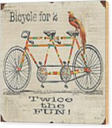 Bicycle For 2 Wood Print