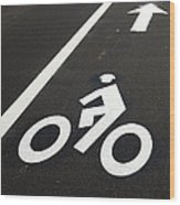 Bicycle Lane Wood Print by Olivier Le Queinec