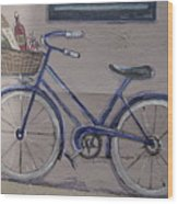 Bicycle Leaning On A Wall Wood Print