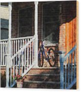 Bicycle On Porch Wood Print