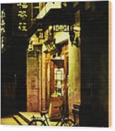 Bicycle On The Streets Of Beijing At Night Wood Print