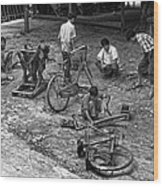 Bicycle Repair In Amarapura Wood Print