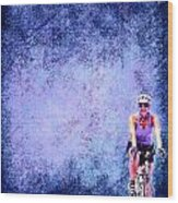 Bicycle Rider On Blue Background Wood Print
