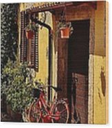 Bicycle Under The Porch Wood Print